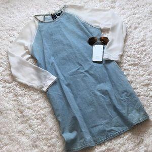 Topshop Denim Sheer Sleeve Dress